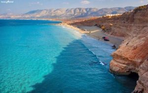 Libya has an amazing turquoise shoreline along the Mediterranean Sea